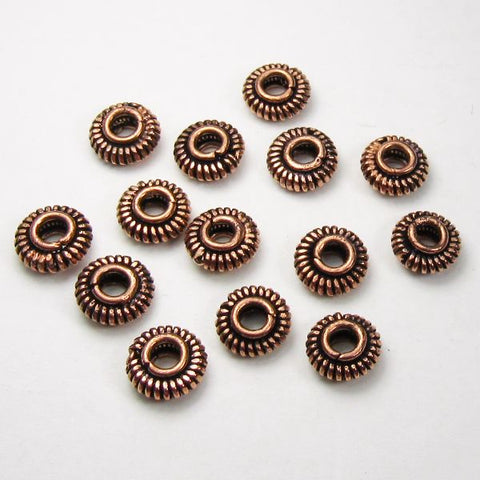 Genuine Copper 9mm Coil Bead Large Hole Beads 14 pcs. GC-349