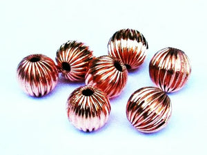 11mm Fluted Copper Beads, Large Hole Beads, Copper Melon Beads 7 pcs. GC-360
