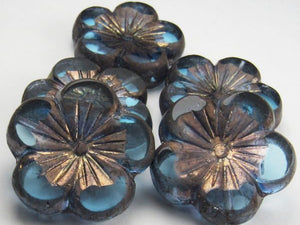 22mm Blue Hibiscus Flower Beads with Copper Picasso, Czech Glass Beads 2 pcs. F-1122