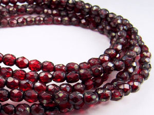 4mm Ruby Red Czech Glass Fire Polished Faceted Round Beads 50 pcs. 4mm/094
