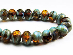 30 Picasso Czech Glass Beads, 5mm Faceted Beads, Amber and  Blue Rondelle Beads 5-1030-B