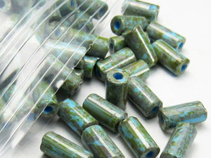 8mm Blue Czech Glass Tube Beads with a Green Picasso Finish 20 Grams T-86805-8