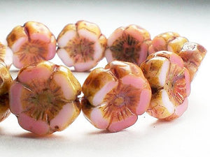 12mm Pink Carved Flower Picasso Czech Glass Beads withAmber Finish 10 pcs. F-225