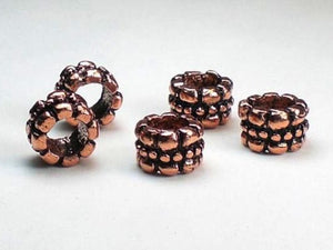10mm Genuine Copper Large Hole Tube Beads 5 pcs. GC-233