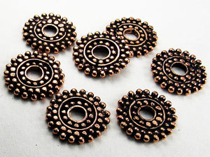 16mm Genuine Copper Disc Bead, Large Hole Copper Bead 4 pcs. GC-371