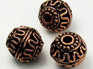 15mm Genuine Copper Barrel Bead, Large Hole Copper Bead 3 pcs. GC-372
