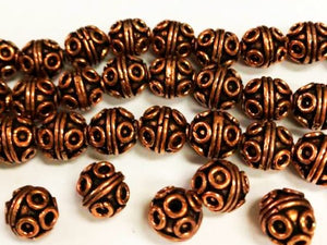 11mm Bali Style Round Ornate Copper Beads 5 pcs. GC-392
