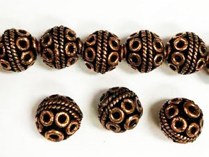 12mm Round Ornate Copper Beads, Bali Style 5 pcs. GC-393