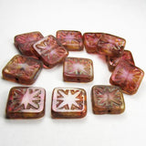 15mm Pink Carved Square Beads - Picasso Czech Glass Beads 8 Pcs. S-301