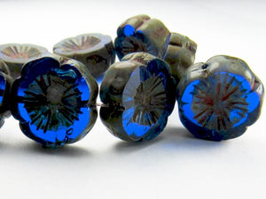 14mm Sapphire Blue Flower Bead, Picasso Czech Glass Beads 8 pcs. F-255