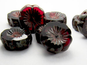 14mm Ruby Red Flower Bead, Picasso Czech Glass Beads 8 pcs. F-271