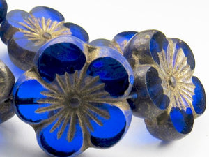 22mm Sapphire Blue Hibiscus Flower Beads, Czech Glass Beads 2 pcs. F-666