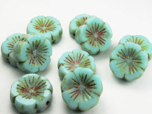 14mm Tea Green Turquoise  Flower Bead, Picasso Czech Glass Beads 8 pcs. F-985