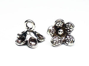 11.5mm Fine Silver Flower Charms Karen Hill Tribe Charm Flower Charms 2 pcs. HT-241 - Royal Metals Jewelry Supply