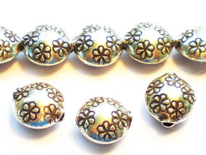 10mm Fine Silver Puffed Disc Beads Flower Design Karen Hill Tribe Beads 3 pcs HT-268 - Royal Metals Jewelry Supply