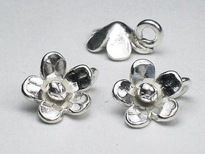 11mm Fine Silver Flower Charms Karen Hill Tribe Charm Flower Charms 2 pcs. HT-291 - Royal Metals Jewelry Supply