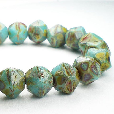 English Cut Beads Picasso Czech Glass Beads 8mm Sky Blue w/Red and Green Picasso Czech 20 Pcs. E-521