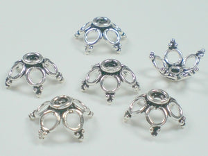 12 mm Large Oxidized Sterling Silver Bead Caps 6 pcs EC-117 - Royal Metals Jewelry Supply