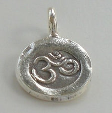 11mm OM Yoga Charm Karen Hill Tribe Fine Silver HT-135 - Royal Metals Jewelry Supply