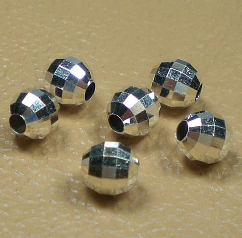 3mm Sterling Silver Beads Faceted Round 50 pcs S-148
