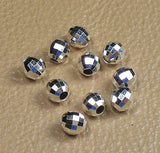 4mm Sterling Silver Mirror Beads Round 12 pcs S-136 - Royal Metals Jewelry Supply