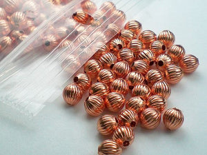 4mm Corrugated Solid Copper Beads 144 pcs. GC-185 - Royal Metals Jewelry Supply