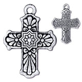 Talavera Cross Pendant Fine Silver Finish Mexican Cross. Tierracast 2 pcs. 94-2321