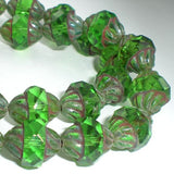 Faceted Peridot Green Turbine Bead, Fire Polished Picasso Czech Glass Beads, Green Bicone Beads 11x10mm 10 pc T-049