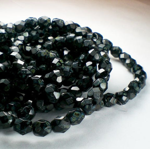 Jet Black Picasso Czech Glass Fire Polished 6mm Faceted Round Beads 60 pcs. 6mm/141