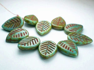 6 Picasso Czech Glass Leaf Beads 18mm Turquoise Blue with Red L-010 - Royal Metals Jewelry Supply