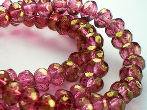 5x3mm Czech Glass Beads Pink with a Gold Finish Faceted Rondelles 30 Pcs. 057 - Royal Metals Jewelry Supply