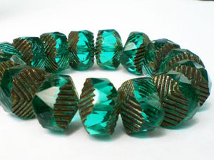 13mm Picasso Czech Glass Beads Faceted Dark Aqua Green with Grooved Chevron Ends 8 Pcs. F-0002 - Royal Metals Jewelry Supply