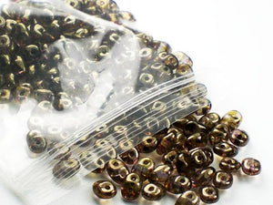 Brown with Brown Luster SuperDuo Czech Beads Two Hole Seed Bead 20 Grams  SD-055