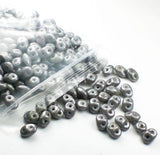 Gray Super Duo Czech Glass Beads Two Hole Seed Beads 20 Grams SD-061