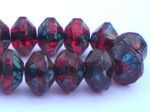 11mm Deep Garnet Red Czech Glass BeadsSaucer Beads with Picasso 8 pcs. S-1000 - Royal Metals Jewelry Supply