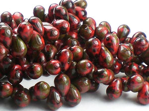 6mm Czech Glass Drop Beads Coral Red with Green Picasso 50 pcs. D-042 - Royal Metals Jewelry Supply