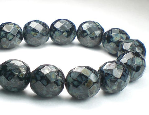 12mm Czech Glass Picasso Beads Jet Black Faceted Round Beads 8 Pcs. R-053 - Royal Metals Jewelry Supply