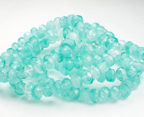 Czech Glass Beads 3 x 5mm Faceted Aqua Blue and White Rondelles 30 Pieces RON5-059