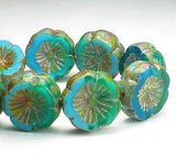 15mm Mixed Blue Carved Hawaiian Flower Picasso Czech Glass Beads Picasso Czech Glass Finish 10 pcs. - Royal Metals Jewelry Supply