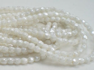3mm White Luster Czech Glass Beads White Fire Polished Beads 100 pcs. 3mm/088 - Royal Metals Jewelry Supply