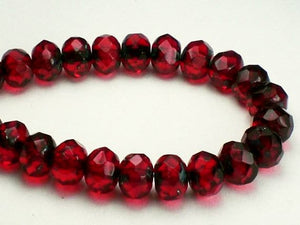 15 Picasso Czech Glass Beads Faceted Rondelle Red 6mm x 4mm Ruby Red with Blue Finish 720 - Royal Metals Jewelry Supply