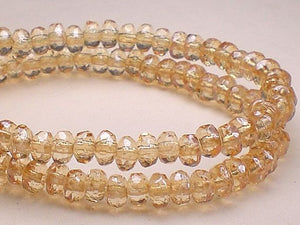 4mm Champagne Czech Glass Faceted Rondelle Beads  2mm x 4mm 50 pcs. Champagne - Royal Metals Jewelry Supply