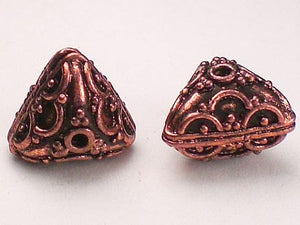 12mm Puffed Triangular Decorative Genuine Copper Beads 2 pcs. GC-256 - Royal Metals Jewelry Supply
