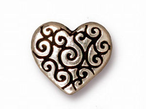11mm Fine Silver, Brass Oxide, Blackened Pewter or Copper Finish Scroll Heart Bead TierraCast 4 pcs. 94- 5672 - Royal Metals Jewelry Supply