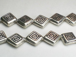 13mm Diamond Karen Hill Tribe Beads Fine Silver Thai Silver 2 pcs. HT-181 - Royal Metals Jewelry Supply