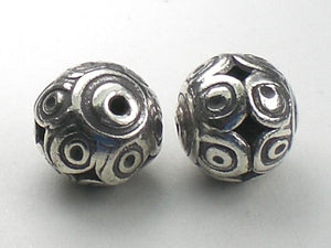 12mm Large Karen Hill Tribe Bead Silver Focal Bead Fine Silver HT-183 - Royal Metals Jewelry Supply
