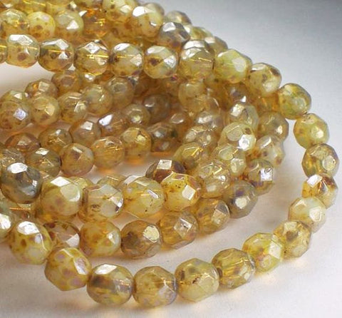 6mm Opal Champagne Picasso Czech Glass Fire Polished Faceted Round Beads 30 pcs. 6mm/156 - Royal Metals Jewelry Supply