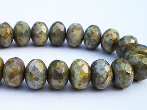 8mm Czech Glass Faceted Rondelle Beads, 8mm Grey Blue Stone Bronze Picasso 10 pcs. 8mm 318