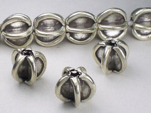 11.8mm Karen Hill Tribe Bead Fine Silver Seed Pod Bead HT-219 - Royal Metals Jewelry Supply