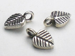 11mm Charm Karen Hill Tribe Fine Silver Leaf Charm 3 pcs HT-231 - Royal Metals Jewelry Supply